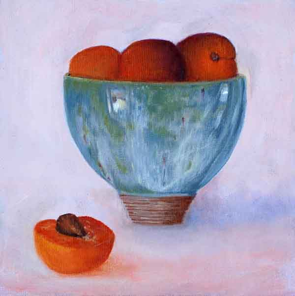 Blue Ceramic Bowl with Apricots Still Life