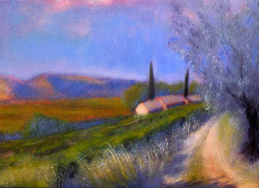 Provence in Evening Light with Cypresses