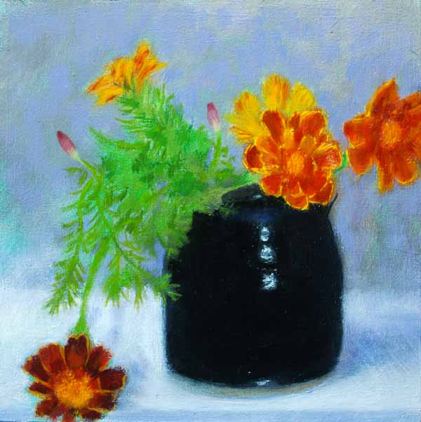 Painting of French Marigolds in a Blue Ceramic