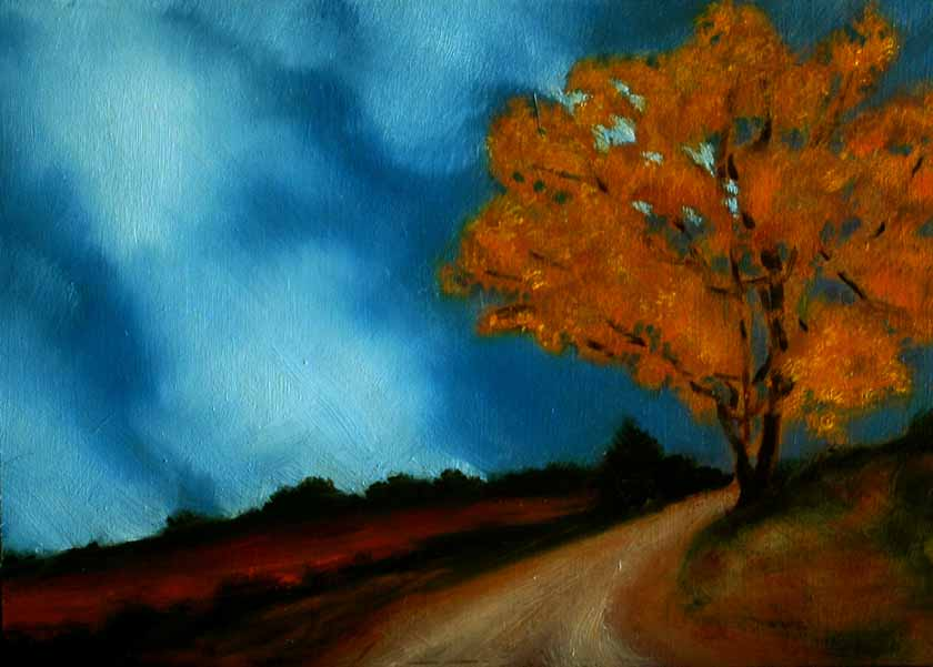 Painting of autumn colours on a tree and around it