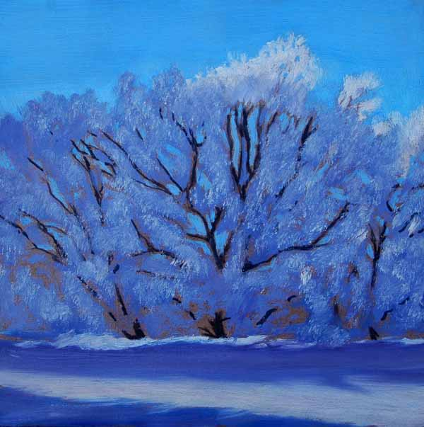 Painting of Winter and Trees covered in Snow, Christmas