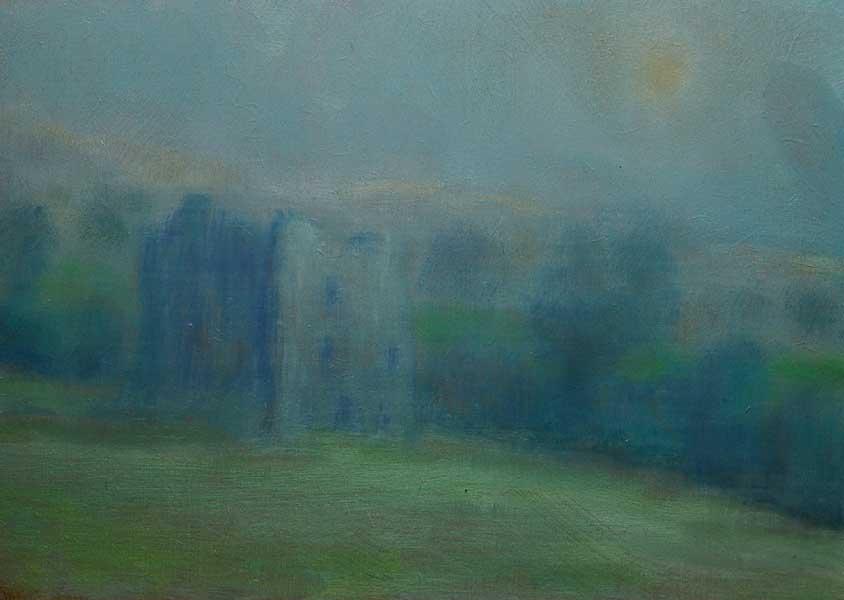 Mist morning, hainted castle, Ireland