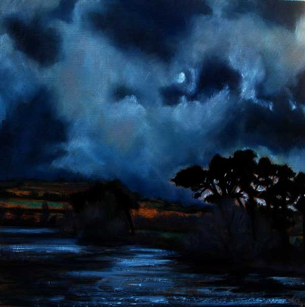 Painting of Ireland, Painting of Moonlight in Ireland, Moonlight on Water