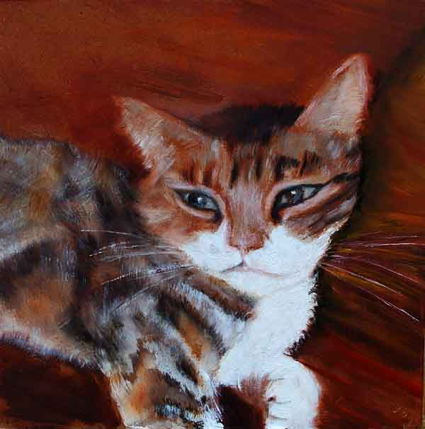 Painting, cat, tabby