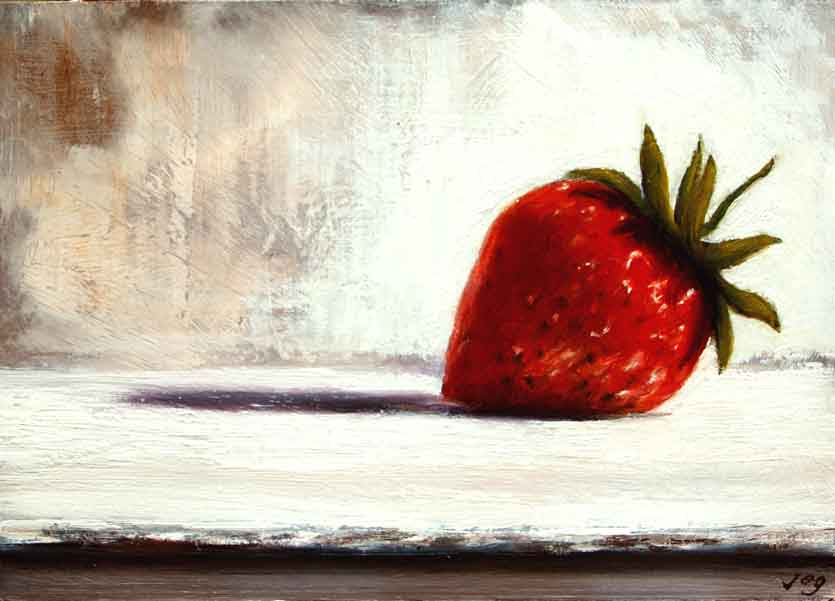 still life painting, strawberry, painting of strawberry, red fruit