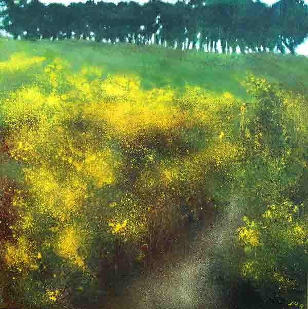 Painting of Ireland, path between Gorse Bushes
