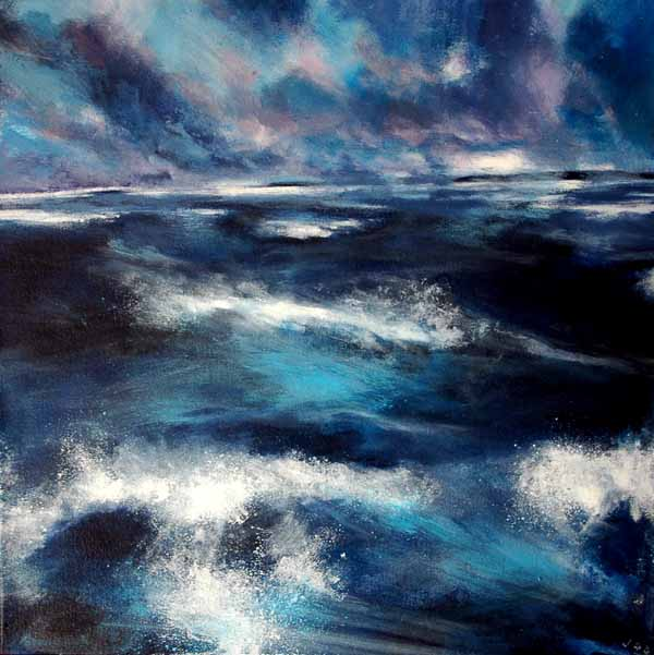 Painting of Seascape, Stormy Sea in Ireland