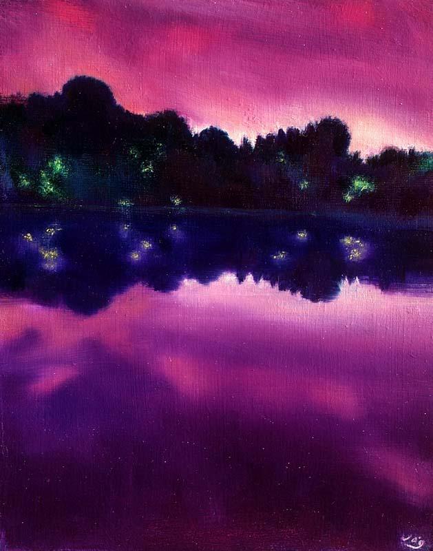 www.JohnOGradypaintings.com. Gloria Lake at Twilight