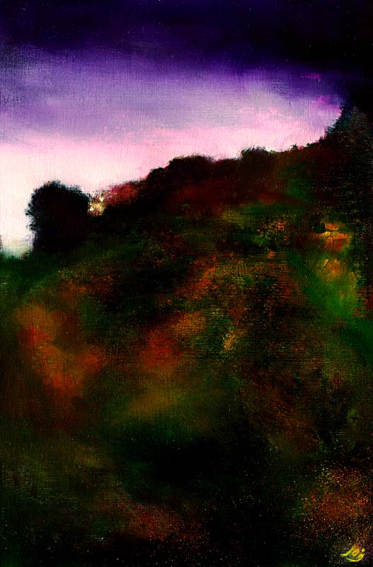 www.JohnOGradypaintings.com. On the Trail at Dawn III